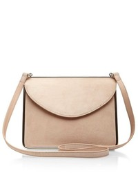 Carven Suede Shoulder Bag In Nude