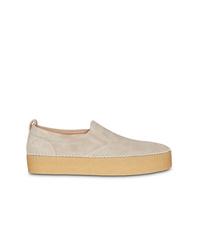 Beige Suede Slip-on Sneakers
