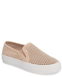 Beige Suede Slip-on Sneakers