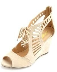 Charlotte Russe Laser Cut Lace Up Single Sole Wedges