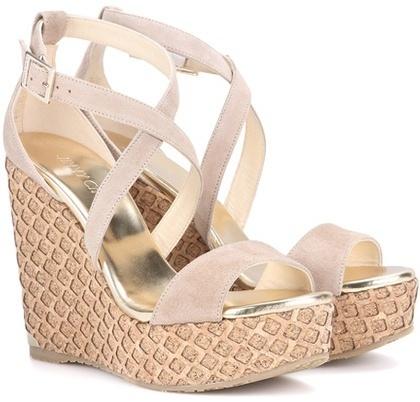 07232427429 Portia 120 Suede Wedge Sandals. Beige Suede Wedge Sandals by Jimmy Choo