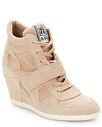 Ash Bowie Suede Canvas Wedge Sneakers