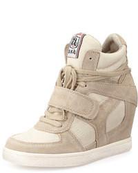 Ash Suede Wedge Sneaker Cool Clay