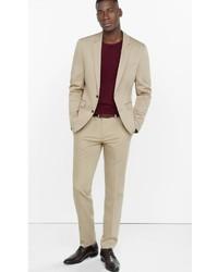 Express Extra Slim Cotton Sateen Khaki Suit Pant