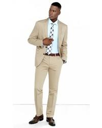 Express Slim Photographer Khaki Cotton Sateen Suit Pant