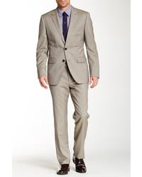Hugo Boss The Grand Beige Sharkskin Two Button Notch Lapel Wool Suit