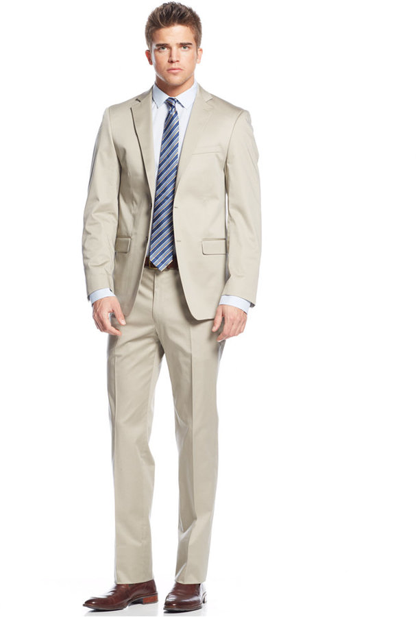 Calvin Klein X Fit Solid Tan Slim Fit Suit | Where to buy & how to ...