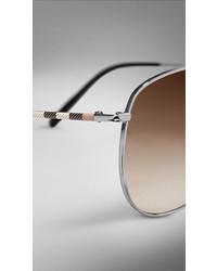 05ea57bbbf317 ... Burberry Check Arm Aviator Sunglasses ...