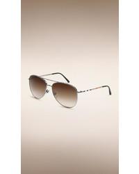 Burberry Check Arm Aviator Sunglasses
