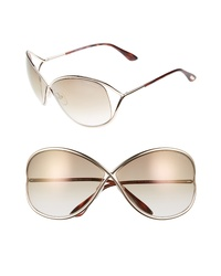 Tom Ford Miranda 68mm Open Temple Oversize Metal Sunglasses