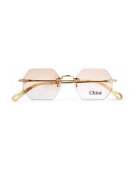 Chloé Octagon Frame Gold Tone Sunglasses