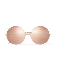 Linda Farrow Oversized Round Frame Gold Tone Mirrored Sunglasses