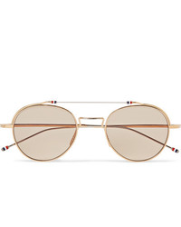 Thom Browne Round Frame Gold And Silver Tone Sunglasses