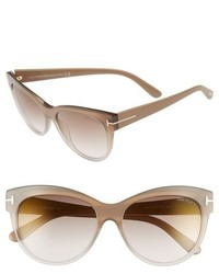 Tom Ford Lily 56mm Cat Eye Sunglasses Beige Brown Mirror