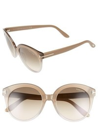 Tom Ford Monica 54mm Retro Sunglasses Black Crystal Gradient Blue