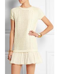 RED Valentino Redvalentino Redvalentino Point Desprit Tulle Paneled Wool Mini Dress