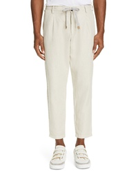 Eleventy Pleated Cotton Linen Jogger Pants