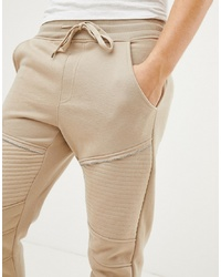 Brave Soul Skinny Fit Ribbed Zip Joggers
