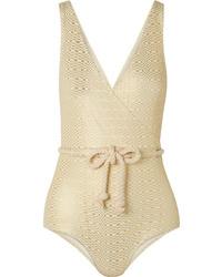 Lisa Marie Fernandez Yasmin Metallic Seersucker Swimsuit