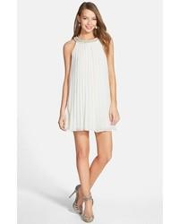 En crme embellished collar swing dress medium 269587