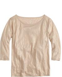J.Crew Linen Boatneck T Shirt In Metallic
