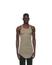 Rick Owens Grey Raw Edge Tank Top