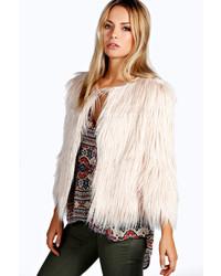 Boohoo Vera Shaggy Faux Fur Coat