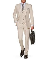 Beige Three Piece Suit