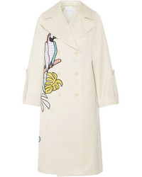 Mira Mikati Appliqud Cotton Blend Sateen Trench Coat Beige