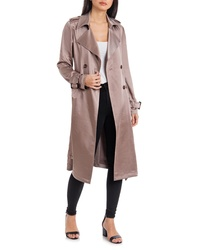 Badgley Mischka Collection Badgley Mischka Double Breasted Satin Trench Coat