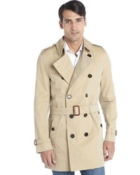 Burberry Beige Cotton Blend Button Down Belted Long Sleeve Trench Coat
