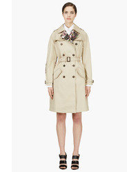 Givenchy Beige Floral Accent Trench Coat