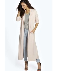 Boohoo Adriana Maxi Belted Textured Trench