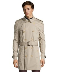 Burberry Brit Taupe Cotton Woven Kensington Double Breasted Trench