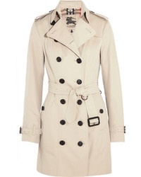 Burberry The Sandringham Mid Cotton Gabardine Trench Coat Beige