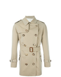 Alexander McQueen Buttoned Short Trench Coat Nude Neutrals