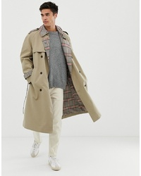 Noak Check Lined Trench Coat In Stone