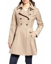 Via Spiga Double Breasted Fit Flare Trench Coat