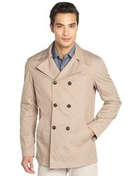 Brunello Cucinelli Khaki Cotton Blend Double Breasted Trench