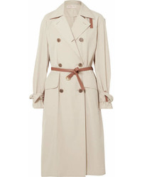 Tory Burch Mariella Belted Leather Trimmed Poplin Trench Coat Beige