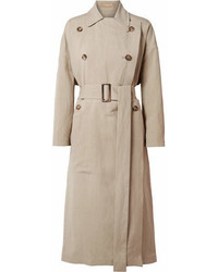 Michael Kors Michl Kors Collection Linen And Silk Blend Trench Coat Beige