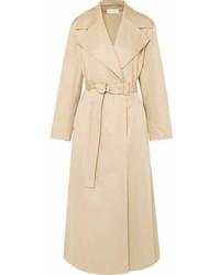 The Row Moora Cotton Blend Poplin Trench Coat Beige