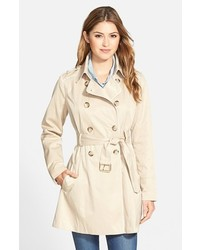 Piped fit flare trench coat medium 440570