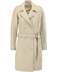 Rag & Bone Port Leather Trimmed Cotton Blend Piqu Trench Coat