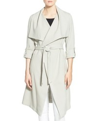 Roll sleeve drape front long trench coat medium 793523