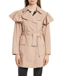 Ruffle trim trench coat medium 5361215