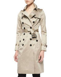 Burberry Sateen Double Breasted Trenchcoat Stone