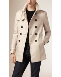 Burberry Short Cotton Gabardine Trench Coat