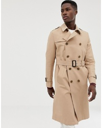 ASOS DESIGN Shower Resistant Longline Trench Coat With Belt In Stone