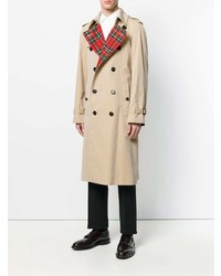 Burberry Tartan Lined Cotton Gabardine Trench Coat